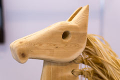 Carved Wooden Horse  Head Stock Image