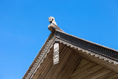 Carved wooden horse on the roof Royalty Free Stock Images