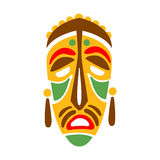 Carved Wooden Mask With Human Face, Native Indian Culture Inspired Boho Ethnic Style Print. Tribal American Stylized Vector Illustration For Hipster Fashion Stock Photo
