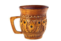 Carved Wooden Mug Royalty Free Stock Photo