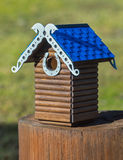 Carved wooden nest box handmade Stock Photo