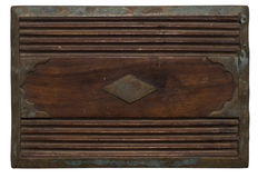 Carved wooden panel with distressed stained metal Stock Photos