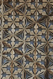 Carved wooden screen. Floral motif carved wooden screen in S. Korea Stock Photos