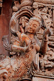 Carved wooden sculptures in the world. Sanctuary of Truth, Pattaya, Thailand Stock Images