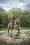 Carved Wooden Soldier and Horse Royalty Free Stock Photography