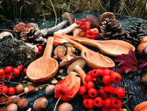Carved wooden spoon in wood, woodwork, colors of autumn. Carving Wood Spoons Spoon Mushrooms Fungi Cones Birch Nuts Autumn Berries Leaves Colors Woodwork royalty free stock photography