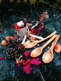 Carved wooden spoon in wood, woodwork, colors of autumn Royalty Free Stock Photography
