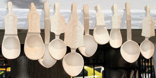 Carved wooden spoons Royalty Free Stock Images