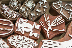 Carved wooden stamps of various designs. Of henna for body decoration and clothing, Russia stock image