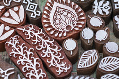 Carved wooden stamps of various designs. Of henna for body decoration and clothing, Russia royalty free stock photos