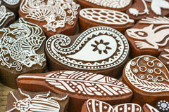 Carved wooden stamps of various designs. Of henna for body decoration and clothing, Russia stock photo