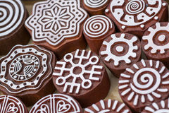 Carved wooden stamps of various designs. Of henna for body decoration and clothing, Russia royalty free stock photo