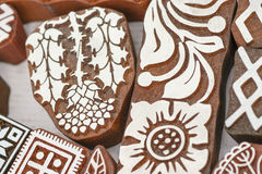 Carved wooden stamps of various designs. Of henna for body decoration and clothing, Russia royalty free stock photography