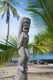 Carved wooden statue of ancient Hawaiian god Stock Image