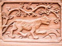 The carved wooden tiger Stock Photography