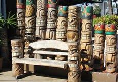 Carved wooden tiki Gods Stock Photos