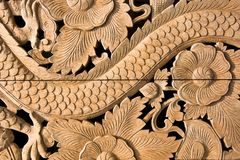 Carved wooden on wall Royalty Free Stock Photo