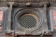 Carved wooden window details on the Royal Palace of Kathmandu, n Royalty Free Stock Images