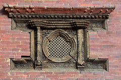 Carved wooden window in Patan, Nepal Stock Image