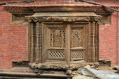 Carved wooden window in Patan, Nepal Royalty Free Stock Photos