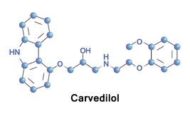 Carvedilol is a beta blocker. Used for treating mild to severe congestive heart failure, left ventricular dysfunction following heart attack and for treating Royalty Free Stock Photos