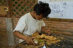 Carver di legno a Chantiers Ecoles Immagini Stock Libere da Diritti