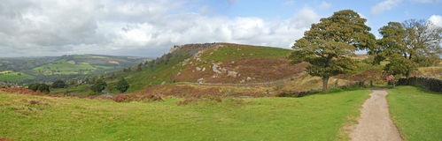 Carver Krawędzi Panorama w Derbyshire Szczytowym Okręgu obrazy royalty free