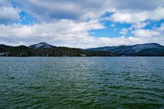 Carvin Cove Reservoir and Bushy Mountain a Winter View Stock Photos