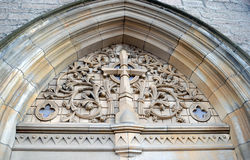 Carving above entrance door of Episcopal Cathedral, Perth, Scotl Royalty Free Stock Photo