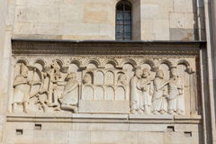 Carving art. On the church facade Stock Image