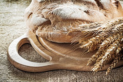 Carving board bread rye ears on vintage hessian background.  stock photo