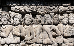 The carving on the Borobudur wall Stock Image