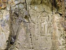 Kargah Buddha, carved image of Buddha, Gilgit-Baltistan, Pakistan royalty free stock photography