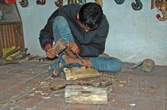Carving ceremonial masks, Nagarkot Royalty Free Stock Images