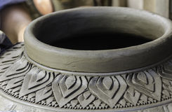 Carving clay for make earthenware. Stock Image