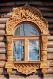 Carving Decorated Window On Timbered House Wall. Stock Photos