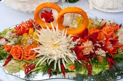 Carving or decoration of vegetables Stock Photos