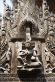 Carving detail of Shwenandaw Kyaung Temple Royalty Free Stock Photo