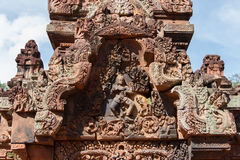 Carving details at Banteay Srei Angkor temple, Stock Photo