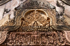Carving details at Banteay Srei Angkor temple Royalty Free Stock Images