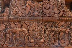 Carving details at Banteay Srei Angkor temple Royalty Free Stock Photos
