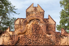 Carving details at Banteay Srei Angkor temple, Royalty Free Stock Photo