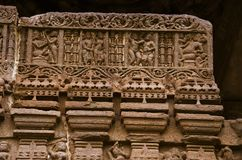 Carving details, Gondeshwar Temple, Sinnar, near Nashik, Maharashtra, India. Carving details, Gondeshwar Temple, Sinnar, near Nashik, Maharashtra state of India stock photo