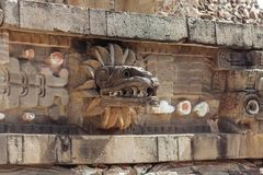 Carving details of Quetzalcoatl Pyramid at Teotihuacan Ruins - Mexico City. royalty free stock image