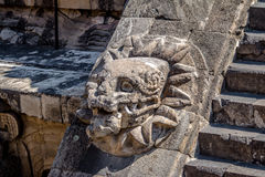 Carving details of Quetzalcoatl Pyramid at Teotihuacan Ruins - Mexico City, Mexico Royalty Free Stock Photography
