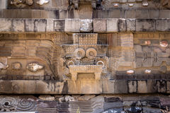 Carving details of Quetzalcoatl Pyramid at Teotihuacan Ruins - Mexico City, Mexico Stock Photos