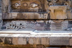 Carving details of Quetzalcoatl Pyramid at Teotihuacan Ruins - Mexico City, Mexico Royalty Free Stock Image