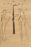 Carving of Egyptian god on pylon (Philae) Stock Photography