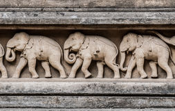 Carving of Elephants Royalty Free Stock Images