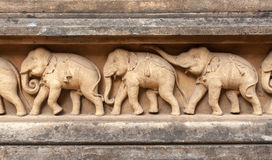 Carving of Elephants Stock Images